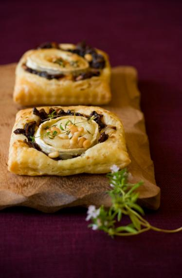 Goats cheese, red onion marmalade & pine nut tarts
