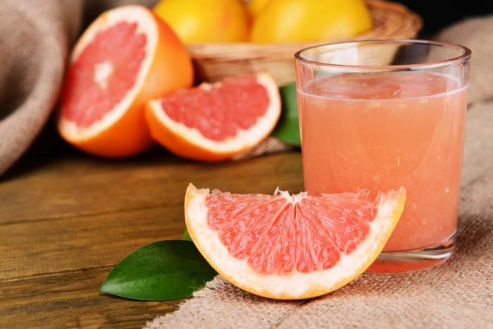 Grapefruit, carrot and ginger juice