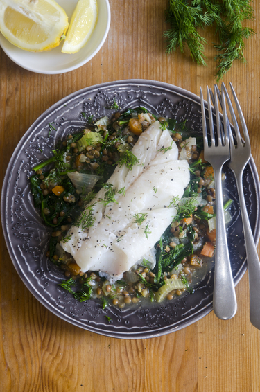 Haddock with lentils