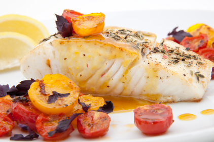 Panfried halibut with cherry tomatoes