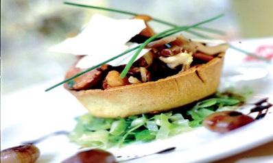 Wild mushroom tart with leeks and balsamic onions