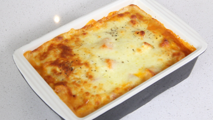 Chicken, butternut squash and feta lasagne