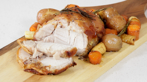 Rosemary roast pork with vegetables and potatoes