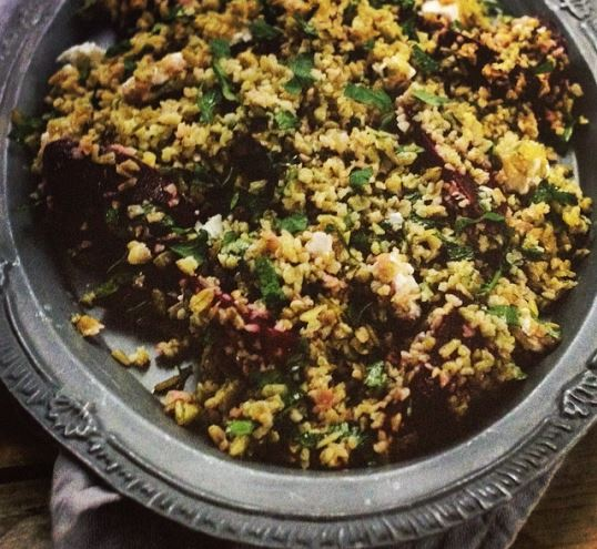 Freekah salad with beetroot and feta