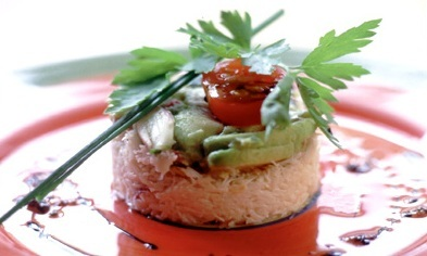 Tian of crab with avocado and red onion salsa