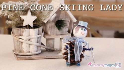 Pine Cone Skiing Lady