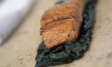 Cider glazed fillet of salmon