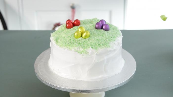 Egg hunt coconut cake