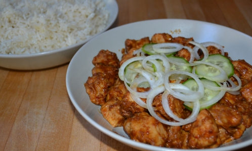 Chicken satay with coconut rice