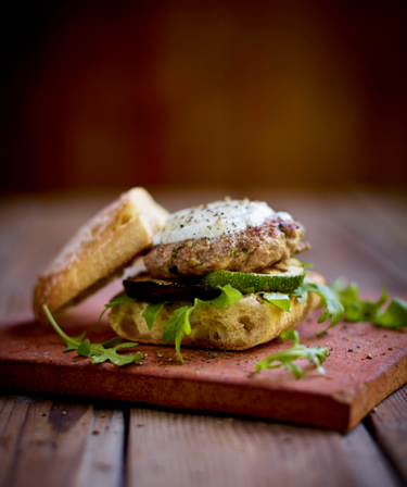Lamb burgers with roasted vegetables