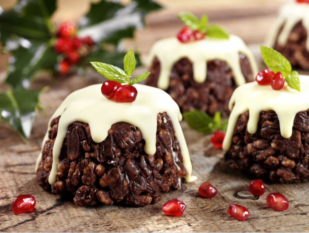 Christmas chocolate pudding crispies