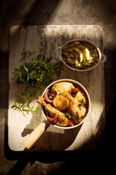 Roasted rosemary lemon olive chicken