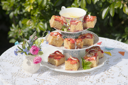 Lemon coconut strawberry squares