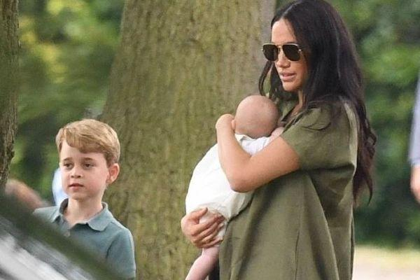 A family outing: Kate and Meghan bring their children to charity polo match