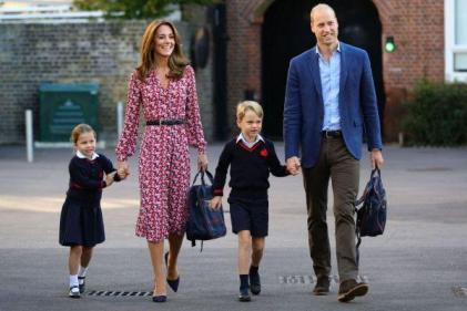 Princess Charlotte arrives for her first day of school