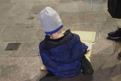 To the little homeless boy eating his dinner from cardboard on the street