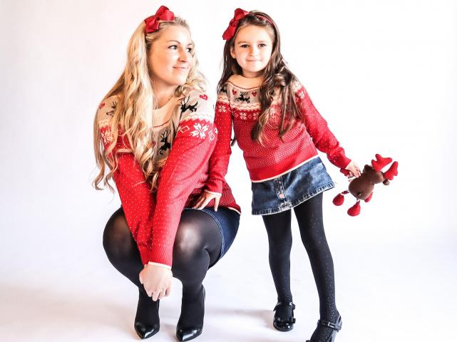 Mother & daughter matching clothes brand launch Christmas jumpers